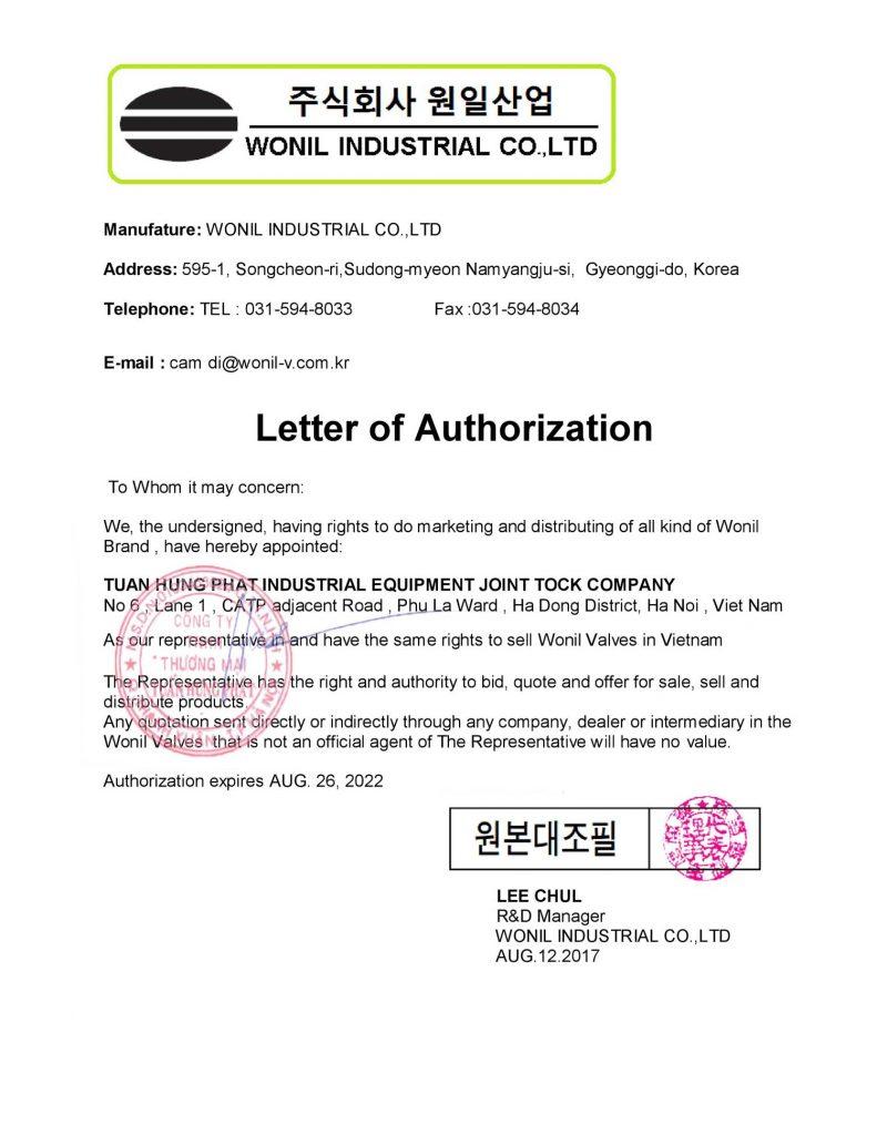 thư ủy quyền phân phối độc quyền van công nghiệp Wonil hàn quốc